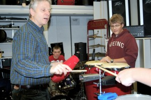 Pete Siers counts off the beat for the drummers in jazz band.